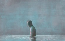 Lonely Human With Water Reflec...