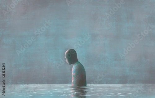 Lonely Human with water reflection, emotion, sadness  loneliness, depression, me Fototapeta