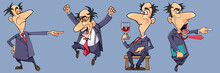 Set Of Different Emotions Of Cartoon Businessman Man In Suit With Tie