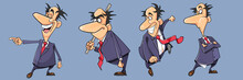 Set Of Different Poses Of Cartoon Active Man In Suit With Tie