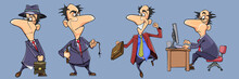Set Of Different Poses Of Cartoon Businessman Man In Suit With Tie