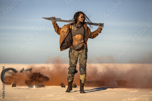 Post-apocalyptic Woman Outdoors in a Wasteland Wallpaper Mural