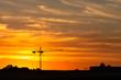 canvas print picture - Baukran Shilouette bei Sonnenuntergang