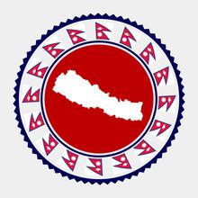 Nepal Flat Stamp. Round Logo W...