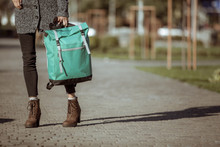 Lifestyle Fashion Portrait Of Young Stylish Hipster Woman Walking On The Street