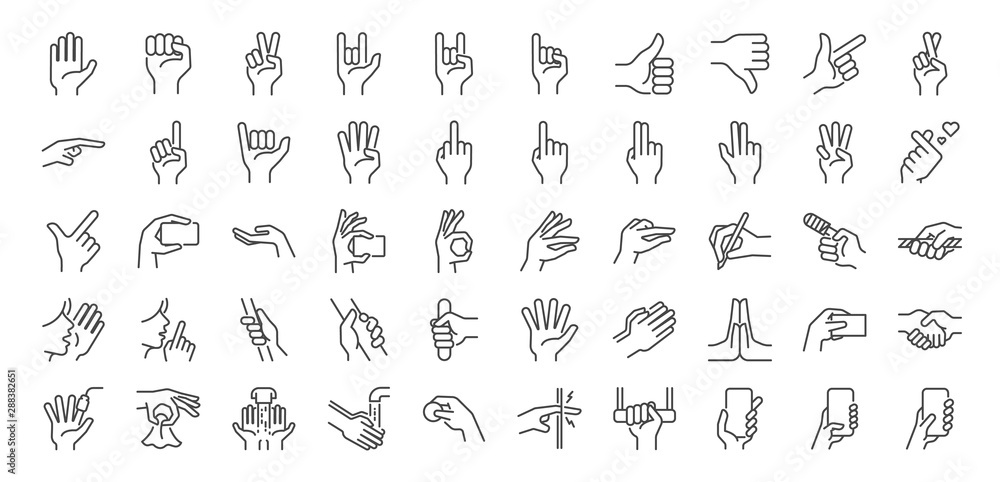 Fototapeta Hand gestures line icon set. Included icons as fingers interaction,  pinky swear, forefinger point, greeting, pinch, hand washing and more.