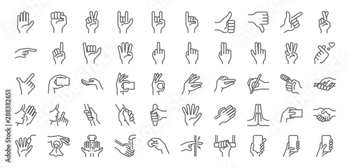 Fotografie, Tablou  Hand gestures line icon set