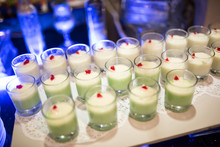 Green Melon Silky Pudding With Fla & Red Cherry