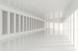 White empty room with sunshine from the side, 3d rendering