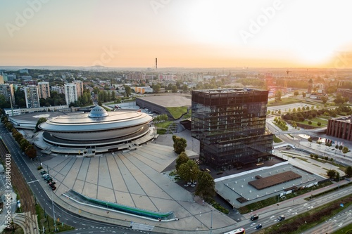 Obraz Aerial drone view of Katowice at sunrise. Katowice is the largest city and capital of Silesia voivodeship. - fototapety do salonu