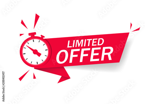 Fotomural Red limited offer with clock for promotion, banner, price