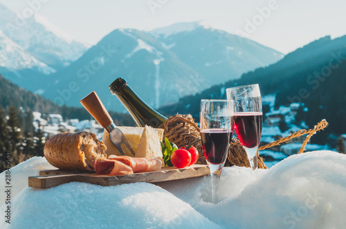 Traditional Italian food and drink outdoor in sunny winter day Canvas Print
