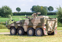 Armoured Fighting Vehicle, Afv From German Army Stands On Field