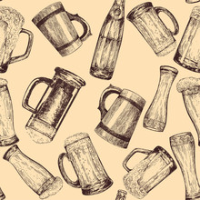 Seamless Pattern Of Hand Drawn Sketch Style Beer Mugs With Bottles. Isolated Vector Illustration.
