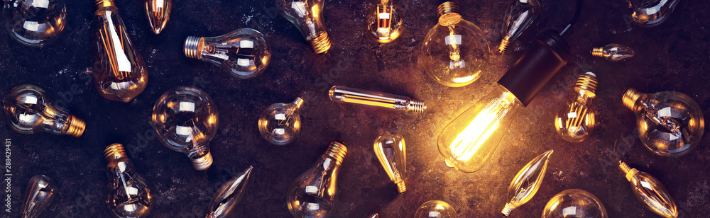 Fototapeta Vintage old light bulb glowing yellow on rough dark background surrounded by burnt out bulbs. Idea, creativity concept.