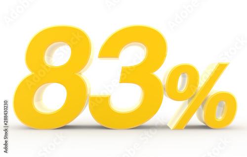 Tela  83 percent on white background illustration 3D rendering