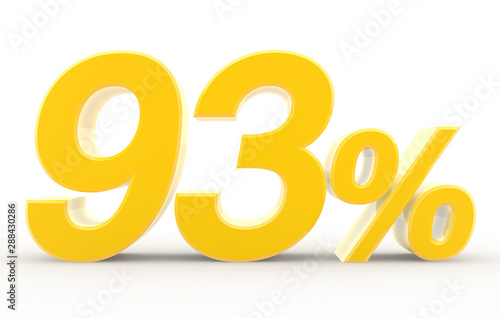 Obraz na plátně  93 percent on white background illustration 3D rendering