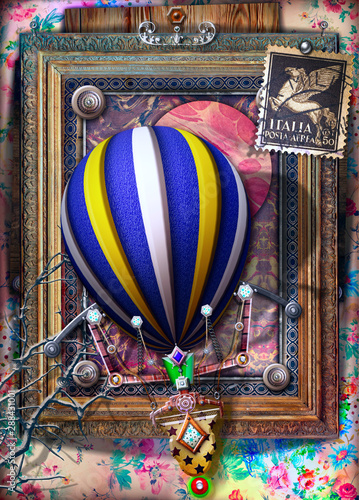 Imagination Background with old fashioned frame and hot air balloon