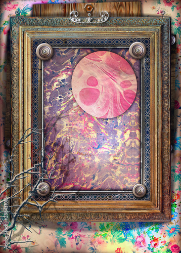 Poster Imagination Background with old fashioned frame and abstract and psychedelic landscape