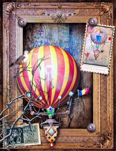 Vintage and old fashioned postcard with a steampunk hot air balloon in flight