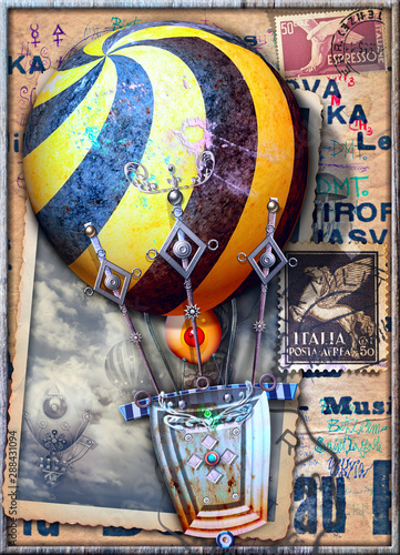 Vintage and old fashioned postcard with a steampunk air balloon in flight