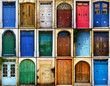 canvas print picture - variety of close up retro style old colorful house doors of Mediterranean architectural culture