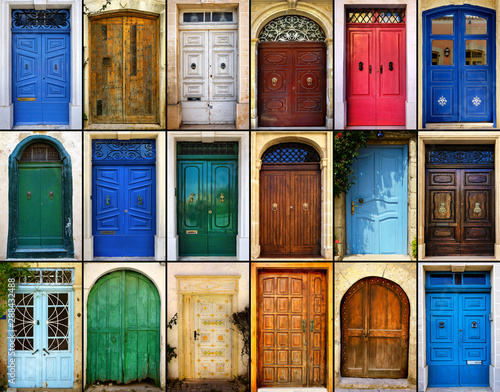 variety of close up retro style old colorful house doors of Mediterranean archit Canvas Print