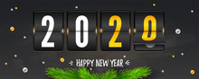 Countdown To New Year. Counting Last Moments Before Christmas Or New Year 2020. Retro Clock. Banner Decorated Of Fir Tree Branches And Balls. Happy New Year Written Of Chalk. Vector 3d Illustration