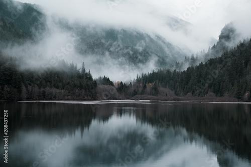 Foto auf AluDibond Dunkelgrau landscape lake fall season , vintage picture style