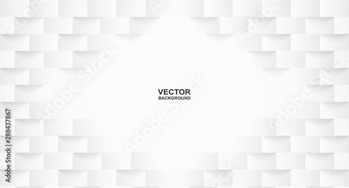 Obraz Abstract . Embossed geometric square white background ,light and shadow .Vector. - fototapety do salonu