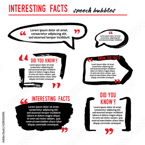 Obraz Interesting facts speech bubble icons. Fun fact idea label. Banner for business, marketing and advertising. Funny question logo sign. Vector design element with hand brush strokes isolated on white. - fototapety do salonu