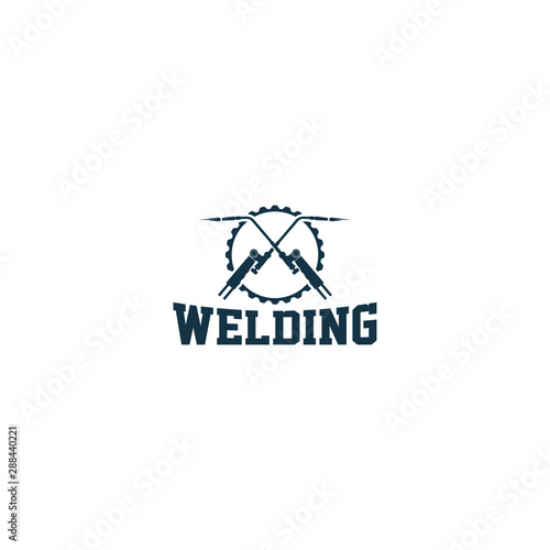 Welding industrial logo design - workshop sparepart service Canvas Print