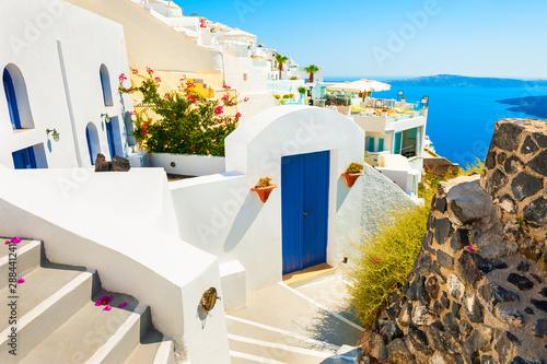 Fotobehang Santorini National greek architecture on Santorini island, Greece. Summer landscape, sea view.