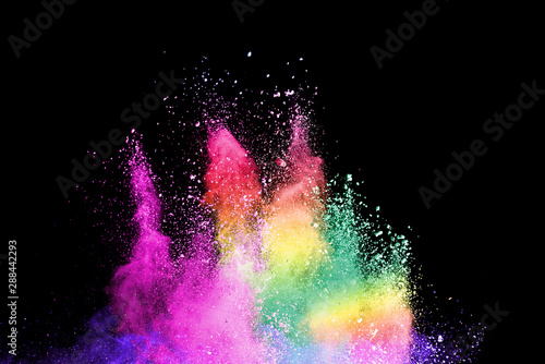 Aluminium Prints Universe Explosion of colored powder isolated on black background. Abstract colored background. holi festival.