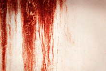Halloween Background. Blood Texture Background. Texture Of  Concrete Wall With Bloody Red Stains.
