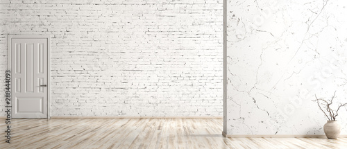 Obraz Interior background of empty room with brick wall, vase with branch and door 3d rendering - fototapety do salonu