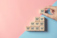 Sale Volume Increase Make Business Grow, Hand Hold Cube With Icon Shopping Cart Symbol.