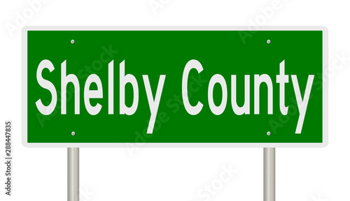 Photo  Rendering of a green highway sign for Shelby County Tennessee