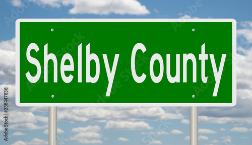 Rendering of a green highway sign for Shelby County Tennessee Wallpaper Mural