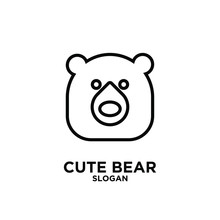 Cute Bear Outline Head Logo Ic...