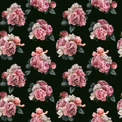 FototapetaFloral seamless pattern with pink peonies and green leaves, white roses, iris, hydrangea. Flowers isolated on dark background. Can be used for wallpaper design, packaging, textile, decorative print.
