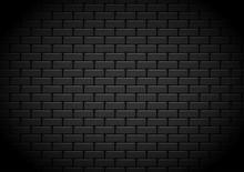 Black Brick Wall Background. Vector Illustration.
