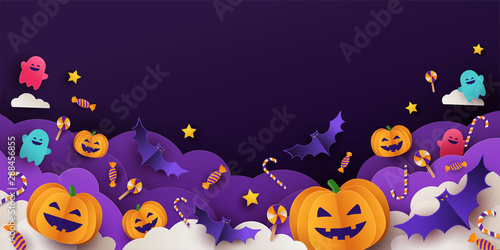 Halloween background for party invitation, greeting card, web banner or Sales with candies in night clouds, cutest pumpkins, bats, ghosts on violet background. Paper cut style, digital craft style
