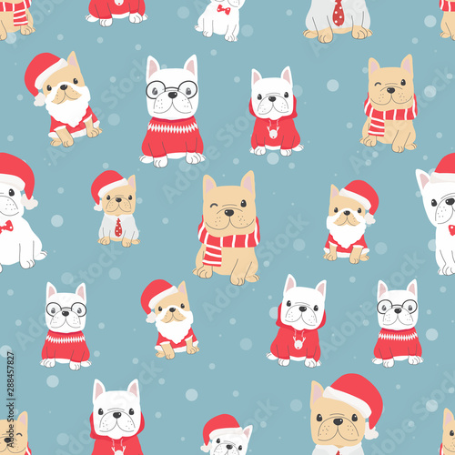obraz lub plakat cute french bulldog puppy dog in christmas costume seamless pattern snow background