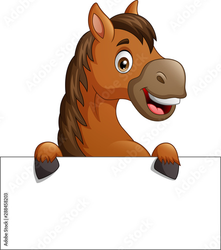Obraz Cartoon brown horse with blank sign board. vector illustration - fototapety do salonu