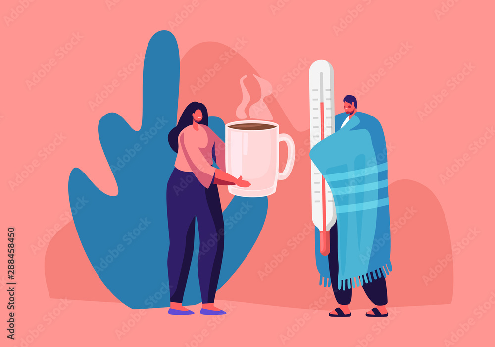 Flu and Sickness Concept with Sick Person Having Cold. Ill Man Wrapped to Warm Plaid Holding Huge Thermometer Woman Giving him Hot Drink. Medicine Disease Illness Cartoon Flat Vector Illustration