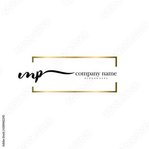 Fototapeta  MP initial handwriting logo vector.