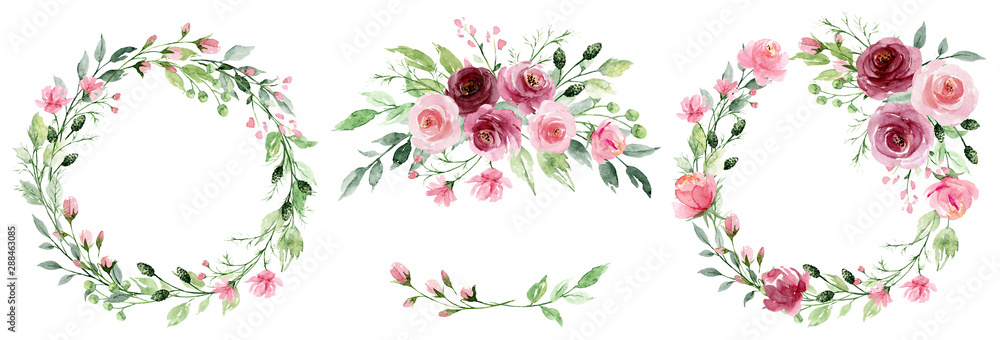 Fototapety, obrazy: Watercolor flower wreaths. Floral clip art set. Frames perfectly for print on wedding invitation, greeting card, wall art, stickers and other. Isolated on white background. Hand paint design.