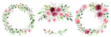 Watercolor Flower Wreaths. Flo...