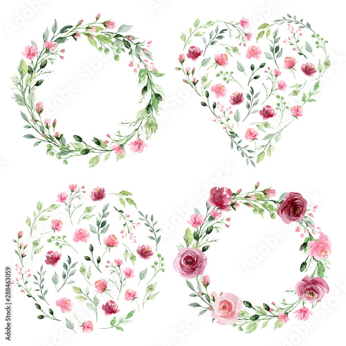 Fototapeta Watercolor Flower Wreaths Floral Clip Art Set